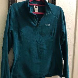 North Face pullover half zip fleece- teal medium